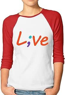 Suicide Prevention Awareness Live Love Semicolon Womens Long-Sleeved Kawaii T Shirt