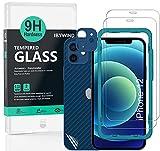 Ibywind Cristal Templado para iPhone 12(6.1'), [2 Piezas],con Protector de Lente de Cámara(Azul),Atrás Pegatina Protectora Fibra de Carbono,Incluyendo Kit de instalación fácil
