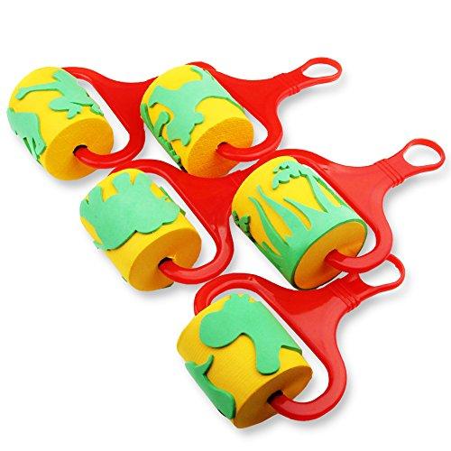 Deardeer Sponge Paint Brush Rollers Art Craft Brushes Set for Kids 5Pcs Sponge Painting Tools with Jungle Animal Patterns