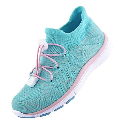 Knixmax Kinder Sportschuhe Turnschuhe Sneaker Jungen Mädchen Kinderschuhe Atmungsaktiv Leicht Laufschuhe Hallenschuhe Klettverschluss Pink-Blau Gr.30 EU