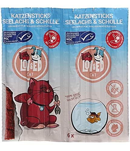 Lov&Ed Katzensnack, Sticks, Seelachs und Scholle mit Katzengras, 6 Stück, je ca. 5 g (30 g)