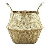 Cesta de la flor plegable Seagrass tejida cesta del almacenaje de paja tejida canasta de almacenamiento para la decoración, cesta de la flor