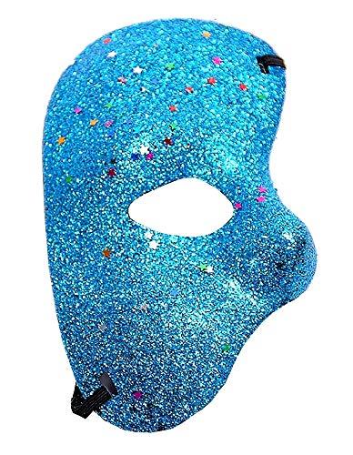 Lovelegis Media máscara Facial - Fantasma de la ópera - Coloreada con Brillo - Disfraz - Disfraz - Carnaval - Halloween - Cosplay - Idea de Regalo para Navidad y cumpleaños - Azul Claro