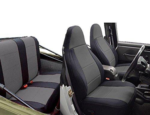 GEARFLAG Neoprene Seat Cover Custom fits Wrangler TJ 1997-02 Full Set (Front + Rear Set) (Gray/Black)