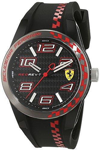 Scuderia Ferrari Orologi REDREV 0830336 - Reloj de Pulsera de Caballero, analógico, Mecanismo de Cuarzo y Silicona
