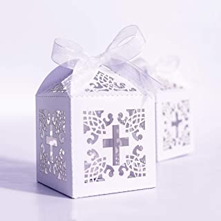 YOZATIA 50PCS Cross Favor Boxes, 2.2 x 2.2 x 2.2 Inches Baptism Favor Boxes with 50 Ribbons, for Party Birthday Christening Favor(Cross)