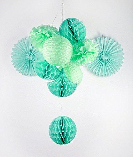 Sunbeauty Serie Menta Pompón Flores de Papel &Abanico&Bolas alveolar con Forma Gota de Agua Mezclado / 10 Piezas decoración Colgando para Boda cumpleaños Santa Semana Fiesta Baby Shower(Estilo 3)