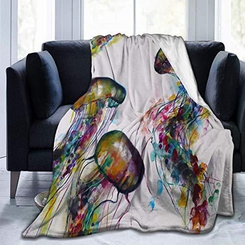 Fleece Blanket Acuarela Pintura De Medusas Cálido para Todas Las Estaciones Manta Suave para El Hogar Sofá Especial Silla Acogedora Franela Fleece Manta Cama 102X127Cm Ligero para
