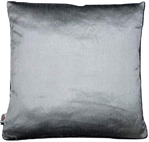 Basics Silber einfarbig Seide Kissenbezug mit unsichtbarer Reißverschluss, 100% weiche Dupionseide Kissenhülle für Sofa & Bett Kissen - 40 cm x 40 cm - RD6