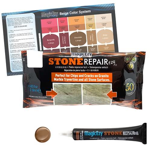 MagicEzy Stone RepairEzy - Professionelle und einfache von Rissen und Absplitterungen über 1 mm für Marmor, Granit, Caesar Stein, Quarz, Travertin und andere Oberflächen mit Stein-Finish (Schokolade)