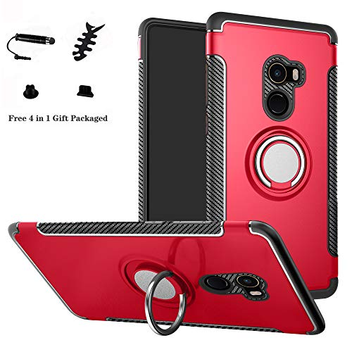 LFDZ Xiaomi Mi Mix 2 Hülle, 360 Rotation Verstellbarer Ring Grip Stand,Ultra Slim Fit TPU Schutzhülle für Xiaomi Mi Mix 2 (Nicht für Xiaomi Mi Mix 2S),Rot