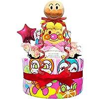 おむつケーキ [ 女の子/アンパンマン / 2段 ] パンパースM19枚 (1歳 の 誕生日プレゼント に Mサイズ)2101 ダイパーケーキ 赤ちゃん ベビーシャワー ギフト