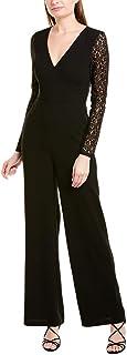 BCBG Max Azria Women's Lace Sleeve Wide Leg V-Neck Woven Jumpsuit Black Size 2