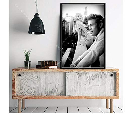 asfrata265 Rahmenloses Gemälde Art Decor Marilyn Monroe Und James Dean Rauchen In New York City Wandkunst Leinwand Malerei Poster Wandaufkleber Szx395 40X60Cm