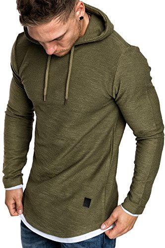 Amaci&Sons Herren 2in1 Oversize Kapuzenpullover Hoodie Sweater Sweatjacke Pullover Sweatshirt 4014 Khaki S