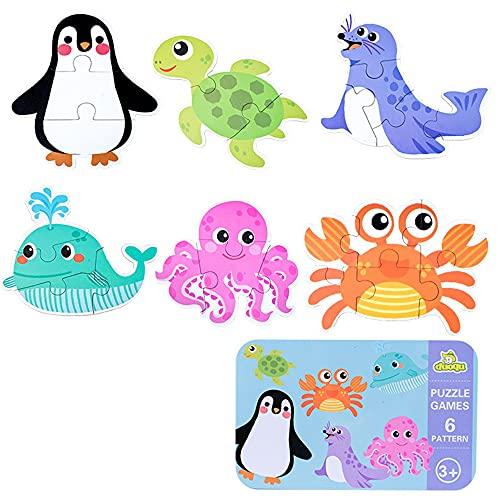 Puzzles de Madera, Rompecabezas de Madera(6 Pack), Puzzles de Madera Educativos para Bebé, Juguetes niños 1 año 2 3 4 5 6 años (Oceano)