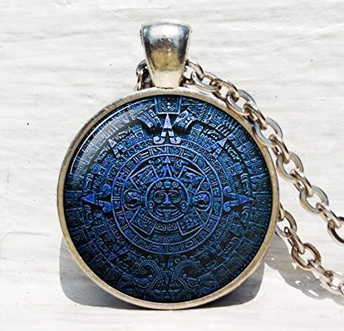 Collar con colgante de calendario maya, diseño azteca, calendario maya, joyería astronómica