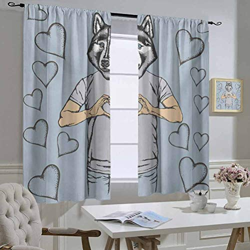 Modern Best Home Fashion Thermal Insulated Blackout Curtains Husky Dog Faced Man at Valentines with Hearts Romantic Love Display Curtain Door Panel 63x63 Inch Slate Blue Grey Sand Brown