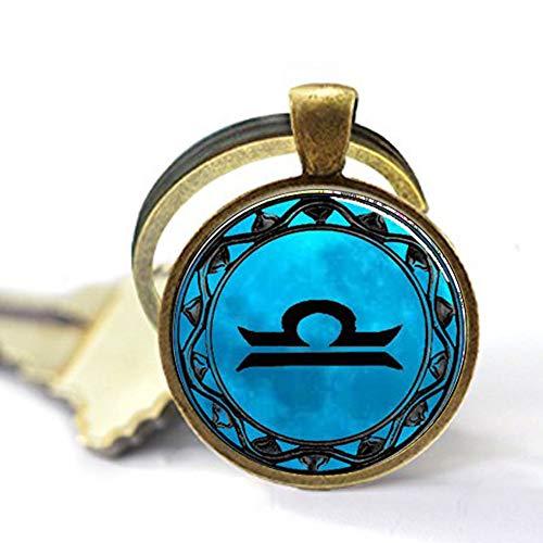 aka Alias Waage Blue Moon Sternzeichen-Symbol Schlüsselanhänger Waage Sternzeichen Astrologie Horoskop Schmuck Schlüsselanhänger