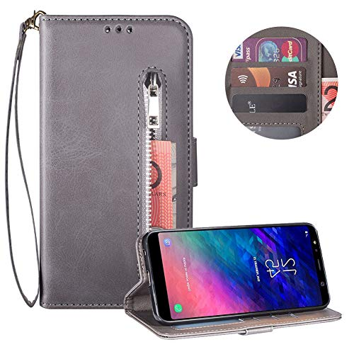 Read About Moiky Soft PU Leather Wallet Case,Gray Folio Flip Stand Case for Samsung Galaxy A6 Plus 2...
