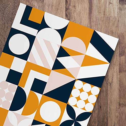 DON LETRA Alfombra Vinílica para Salón, Dormitorio y Cocina - Diseño de Geometría - 100 x 50 x 0.2 cm, ALV-002