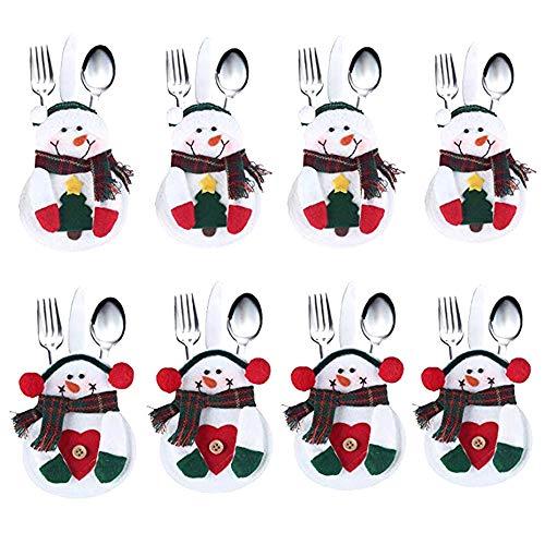 8 PCS Posate Natale da Tavolo Costume Natale Vestito di Tasche Porta Posate Portaposate Costume da Babbo Natal Decorazione per Tavolo (Style 1)