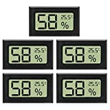 EEEKit 5-Pack Mini Thermometer Hygrometer, Small LCD Digital Temperature Humidity Meter Thermometer and Humidity Gauge Celsius Display for Cars/Home/Office/Greenhouse/Incubator(℃)