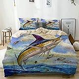 AMIGGOO Bedding Juego de Funda de Edredón,Beige,Marlin Azul Marlines Atún Pequeño Bonito Pescado Terry Fox,Microfibra SIN Relleno,(Cama 220x240 + Almohada)