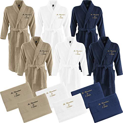 Nashville print factory 2 x Bademantel + 2 x Duschtuch Bestickt mit Name Partner-Look Sauna Hotel Morgenmantel | 3 Farben (S/M, Hellbraun/Sand)