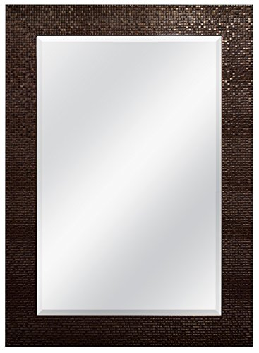 MCS 24x36 Inch Embossed Tile Wall Mirror, 32x44 Inch Overall Size, -