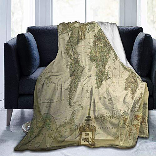 jrtyjrdtyj Decke werfen Ancient World Map Flannel Fleece Microfiber Throw Blanket Extra Soft Brush Fabric Winter Warm Sofa Blanket Fuzzy Microplush Lightweight Thermal Fleece Blankets