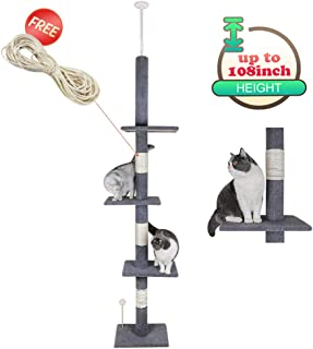 """108"""" Tall Cat Tree House Activity Towers Scratching Post Condos Climbing Tiger Tough Kitten Furniture with Sisal Rope Pet Perches Play Adjustable Height Platform"""