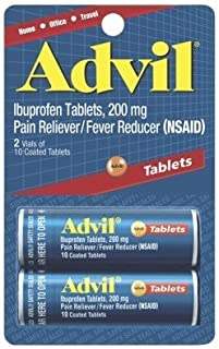 Advil Ibuprofen Pain Reliever/Fever Reducer Tablets, 200mg, 10 count (Pack of, 2)