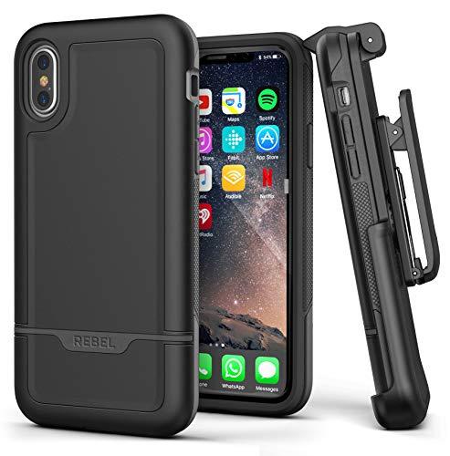 ENCASED [Rebel Series iPhone XS MAX Schutzhülle & Cover mit abnehmbaren Gürtelclip-Holster, (Dual Layer Hybrid) – Robustes Cases mit stoßfestem TPU-Futter in Schwarz