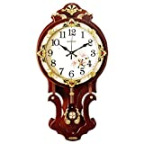 WJBHヨーロッパ時計壁時計リビングルームミュートぶら下げテーブルホーム雰囲気クォーツ時計クリエイティブシンプルな中国風ファッション時計の高さ62センチ時計幅30センチガラス直径23センチ木材色