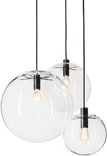 MZStech Spherical Classical Glass Pendant Light Creativa Single Light Head Glass Lamp, Base de Techo E27 Bombilla (20CM)