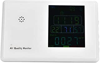 空気質モニター、多機能PM2.5/CO2/TVOC検出器USB充電式リアルタイムディスプレイ付きの空気ガス検出器ホームオフィス車用温度および湿度