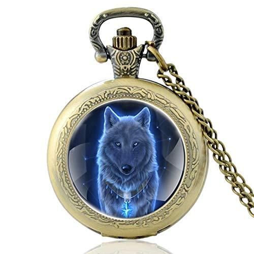 Yqs Taschenuhr Neue Art und Weise Weinlese-Bronze Mysterious Wolf-Quarz-Taschen-Uhr-Retro Männer Frauen Wolf-Anhänger-Halskette Antikschmuck (Color : P206 Bronze)