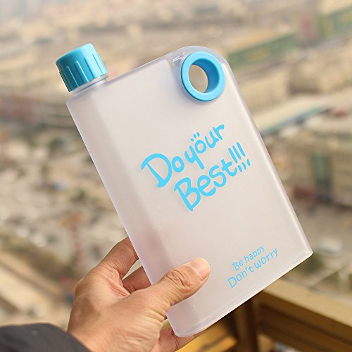 Ducomi Trinkflasche Notebook aus PVC Transparent - 380 ml - Flachmann transparent innovativem Design und ultraflach A Inhalt sichtbare mit Öse zum Aufhängen A Tasche oder Rucksack (Hellblau)