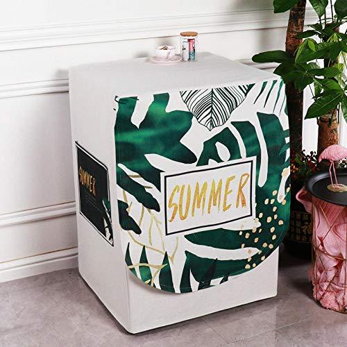 JRTILES Wasmachine Cover, Protector Cover Zonnebrandcrème Voor Voorlader Wasmachine & Droger, Stofbestendig En Anti-veroudering, Natuurlijke Groen Blad 60X60X83Cm