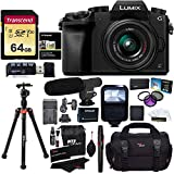 Panasonic DMC-G7KK Digital Single Lens Mirrorless Camera 14-42 mm Lens Kit, 4K + Accessory Bundle + Transcend 64 GB + Ritz Gear 60' Tripod + Microphone + Polaroid Flash + Filter Set + Battery + More