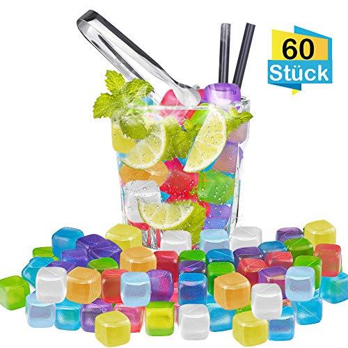 FHzytg 60 Stück Wiederverwendbare Eiswürfel Bunt mit Edelstahl Eisclip, Party Eiswürfelform Kunststoff Dauereiswürfel Eiswürfel für Getränke