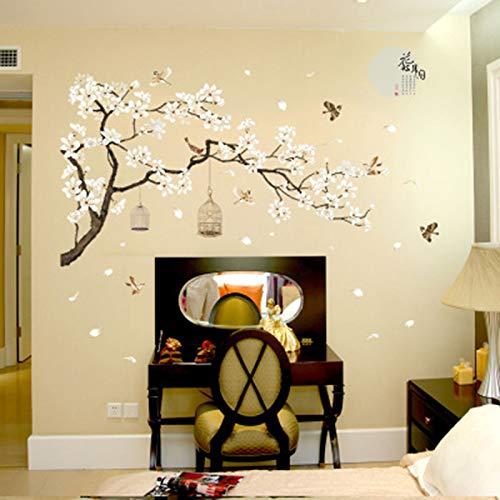 Weiße Blume Schwarzer Baumstamm Wandaufkleber TV Hintergrund Wandmalerei Plakatkunst Fliegender Vogel Vogelkäfig Tapete Plakatkunst Aufkleber60X90cm