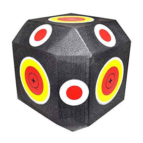 iGlow 18-Sided 3D Cube Reusable Archery Block Target Constructed with Rapid Self Healing XPE Foam Compound Bow Crossbow