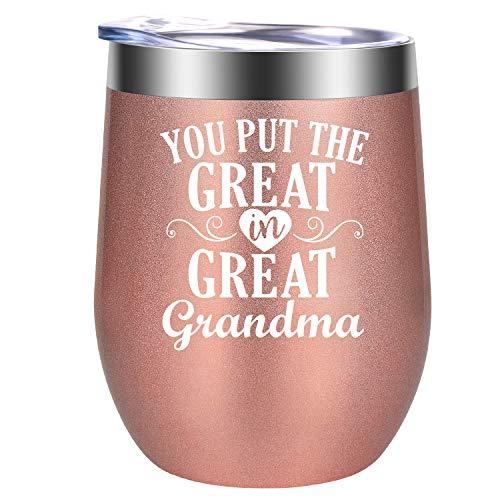 Great Grandma Gifts - Great Gifts for Grandma - Grandma Christmas Gifts - New Grandma Gifts - Stocking Stuffers, Funny Birthday Wine Gifts for Grandmother, Grandma, Mom - GSPY Grandma Mug Wine Tumbler