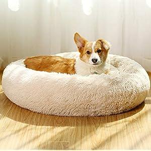 JMHUND Shag Vegan Fur Donut Comfortable Dog Bed for Medium Dogs, Large Calming Cuddler Ultra Soft Washable Pet Cat Mat, Round Fluffy Self-Warming Cushion Bed,32″ Beige