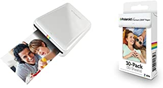 Polaroid ZIP Mobile Printer (White) with Polaroid ZINK Photo Paper TRIPLE PACK (30 Sheets)
