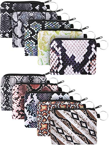 10 Pieces Small Coin Purse Boho Change Purse Pouch Mini Wallet Coin Bag with Zipper for Women Girls (Snakeskin Print)