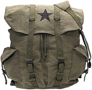 Canvas Backpack - Vintage Rucksack with Star Detail By Rothco