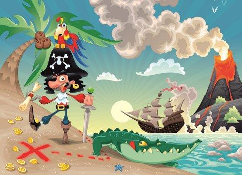 Tapete-Kids Pirat und Papagei